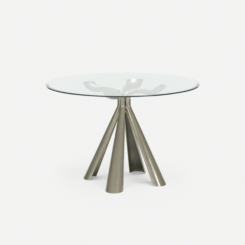 Vittorio Introini dining table, 1972 Cast aluminum, glass