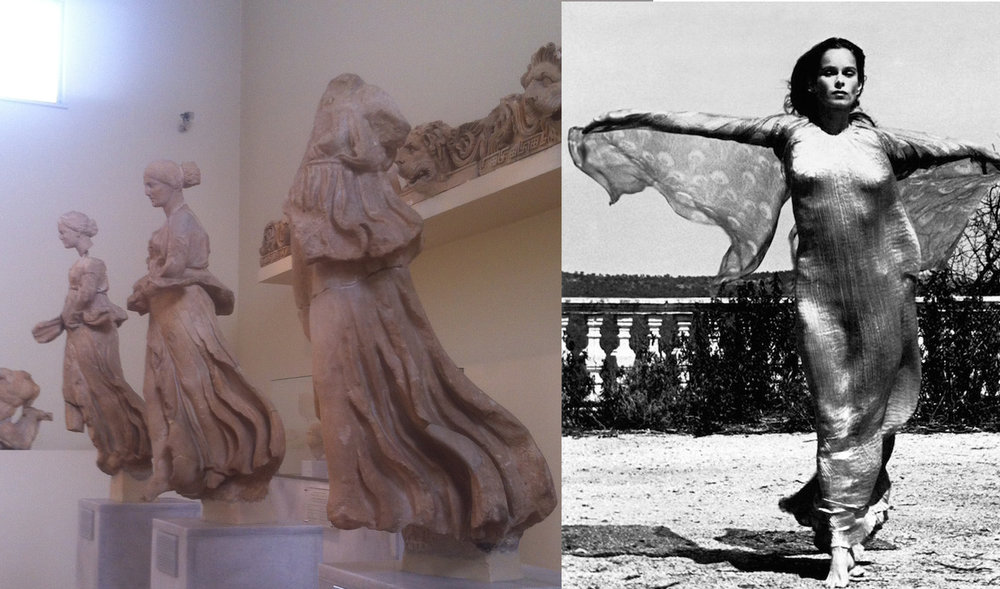 On the left, three ancient priestesses, photo taken at the Archeology Museum Athens. On the Right, Geraldine Chaplin wears her mother's fortuny Delphos gown in Madrid 1979.