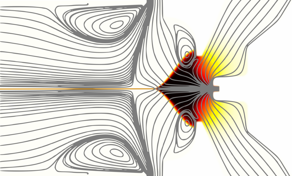 Streamlines and sample ion concentration distribution in a SUPER SESI (second generation).