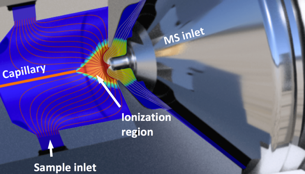 Detail of the SUPER SESI core coupled with a Thermo Instrument. The simulation results are superposed.