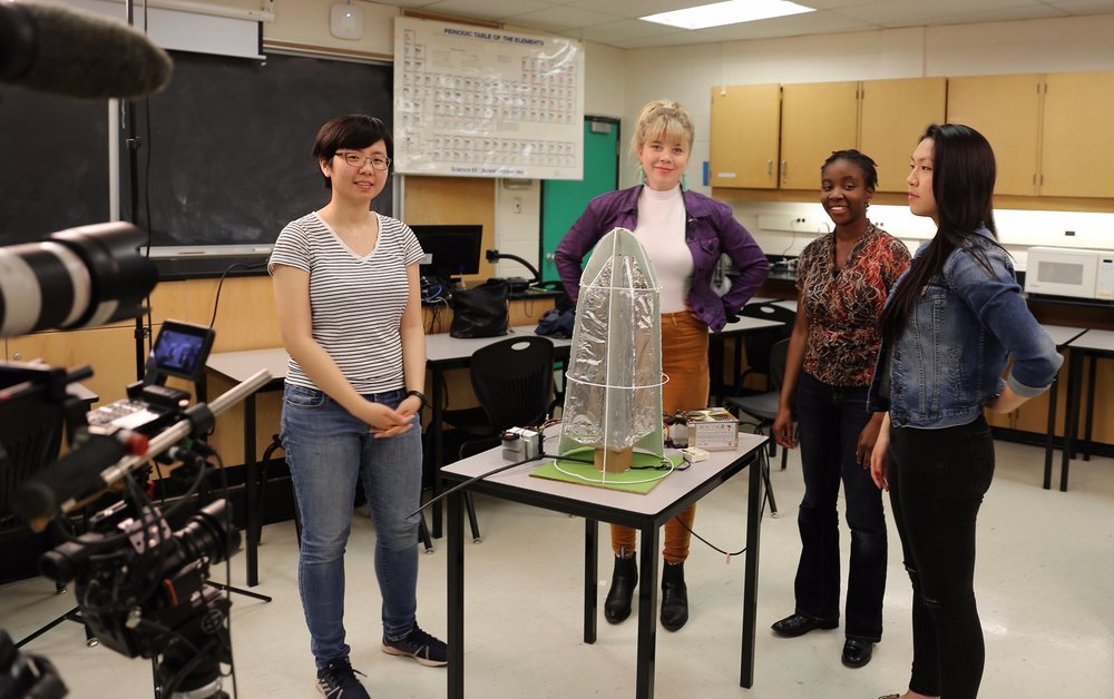"""Emerging inventors Amy Lu, Omolara Soyinka & Leslie Xin with their award winning biomimicry invention """"Stillae"""" at Glenforest Secondary School in Mississauga"""