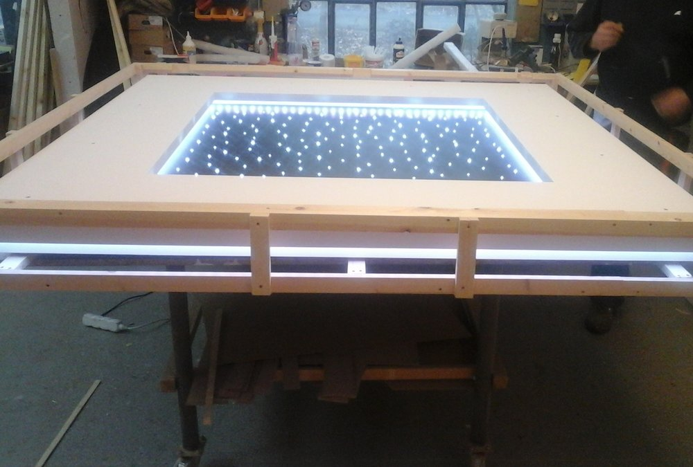 The Sky Portal panel at the workshop - The star ceiling panel was being packaged securely ready for transportation