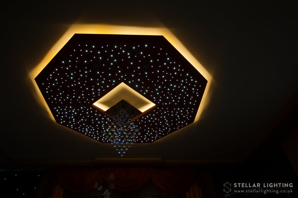 Classical Octagon star ceiling, stars and edge lighting lit