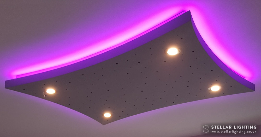 Concave Rectangle starlight ceiling, spotlights lit, edge lighting set to purple