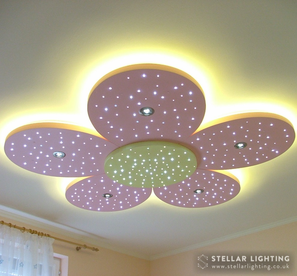 Floral starlight ceiling, edge lights, spotlights and stars lit