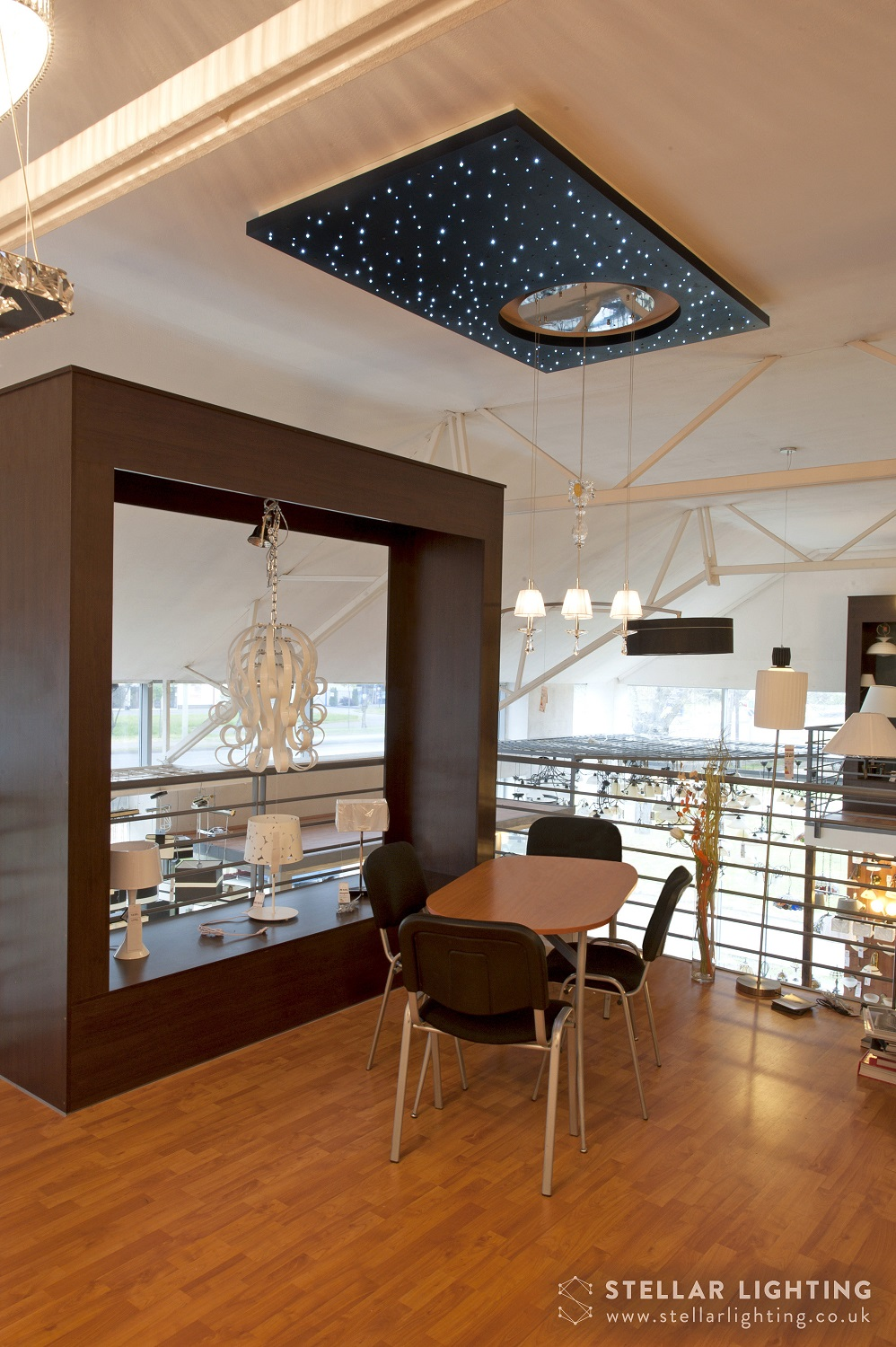 Modern Universe starlight ceiling, showroom view