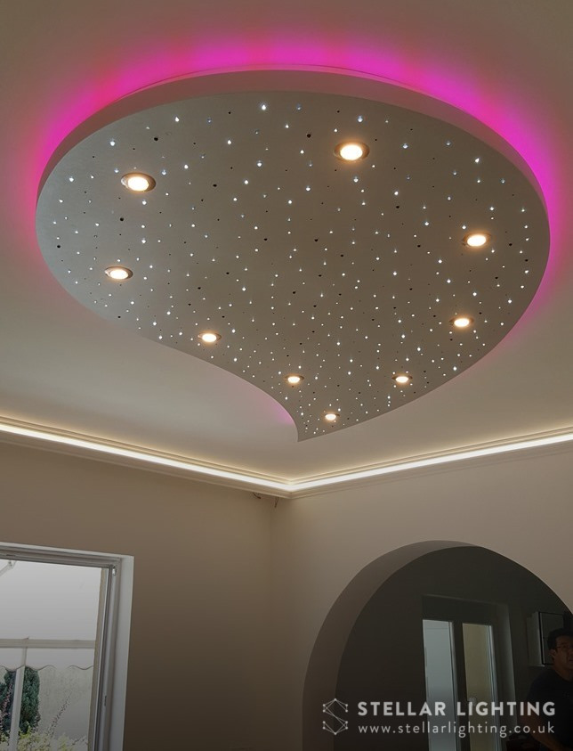 Teardrop starlight ceiling, stars and spotlights lit, edge light set to pink
