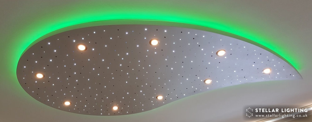Teardrop starlight ceiling, stars and spotlights lit, edge light set to green