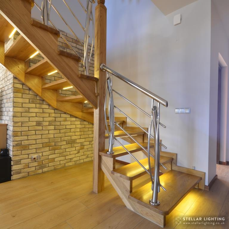 Stair lighting installed on open staircase