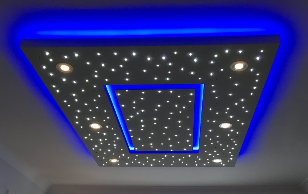 Star Ceiling in Living room, spotlights on