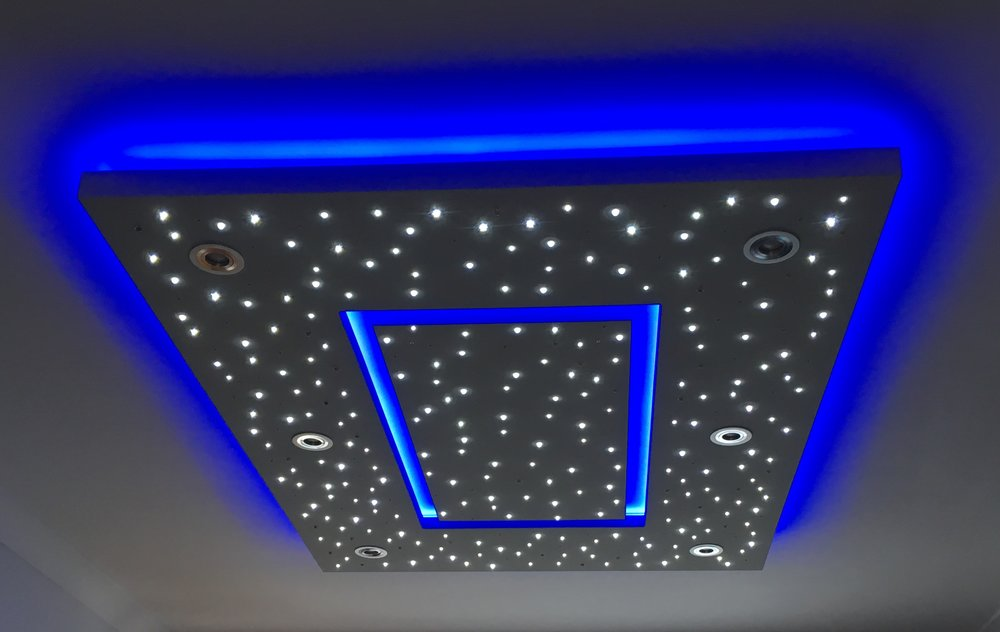 Star Ceiling in Living Room, spotlights off