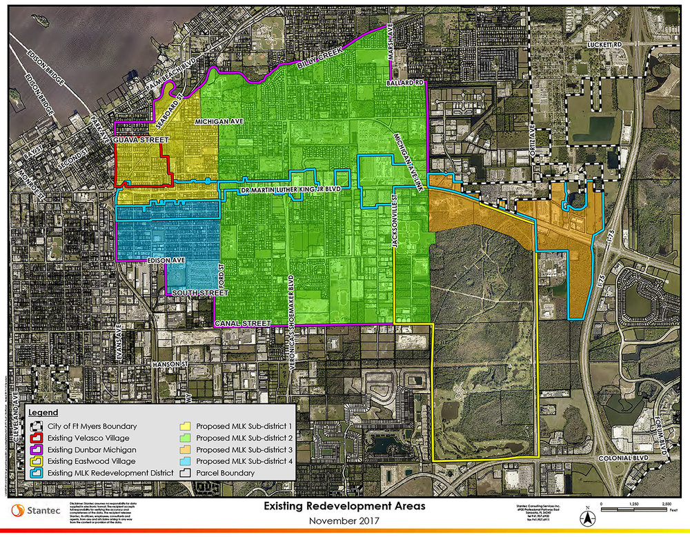 Existing redevelopment area boundaries impacted by the MLK Expansion.  All colored areas (yellow, green, blue, and orange) are within the expansion area.  All areas included within the expansion area are currently designated redevelopment areas.