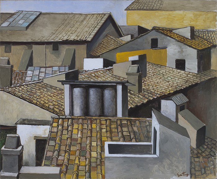 Renato Guttuso, Rooftops in Rome, c. 1973, Oil on canvas, 70 x 85 cm, Courtesy Galleria d'Arte Maggiore, Bologna