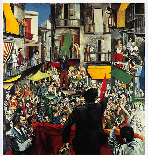Renato Guttuso, Neighborhood Rally, 1975, Acrylic and collage on paper, 210 x 200 cm Courtesy Galleria d'Arte Maggiore, Bologna