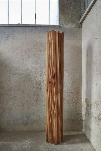 Herbert Golser, Spin Off, 2014, pear wood, 30x30x205cm, courtesy Rosenfeld Porcini