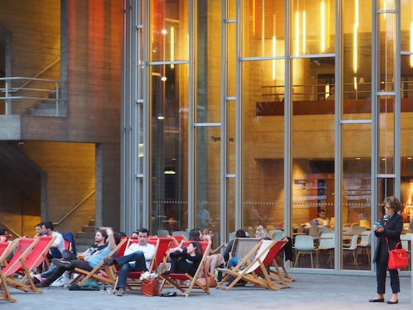 Last summer, beach chairs have been installed in front of the National Theatre in London