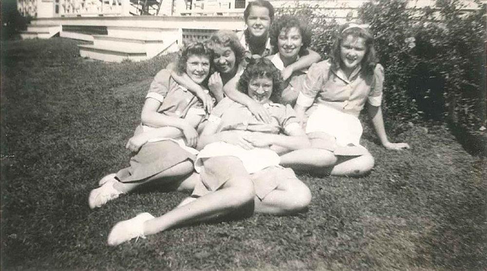 Freda (far left) and other Haven's Inn waitresses