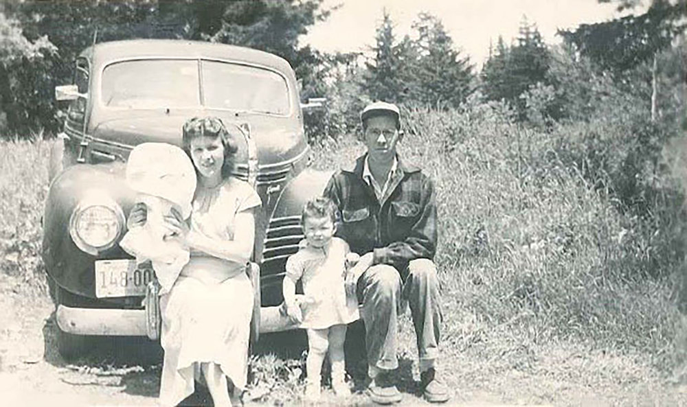 Freda, Bun and two of their children on North Haven