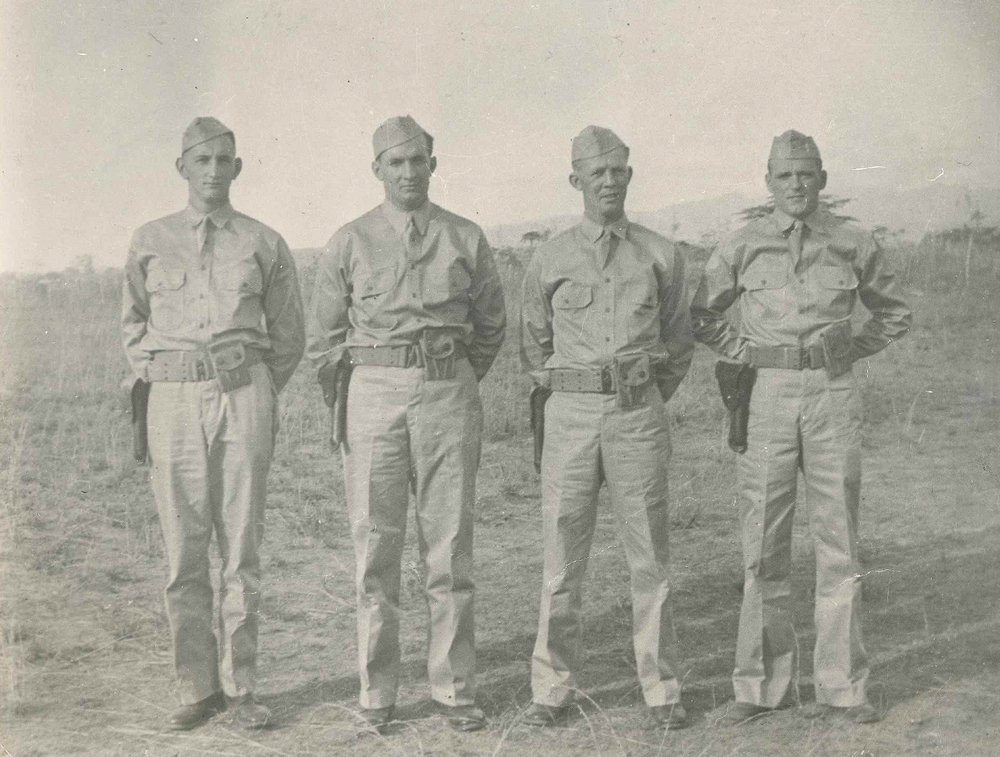 The four North Haven boys, including Betty's brother, Hugh, captured during World War II. – (From left to right)Charles Baird, Arthur Calderwood , Hugh Parsons, Harold Morrison