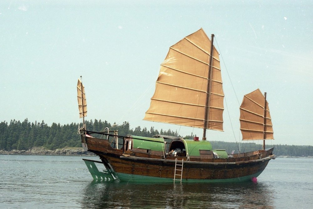 Jeannette's family's junk, a traditional Chinese sailing vessel