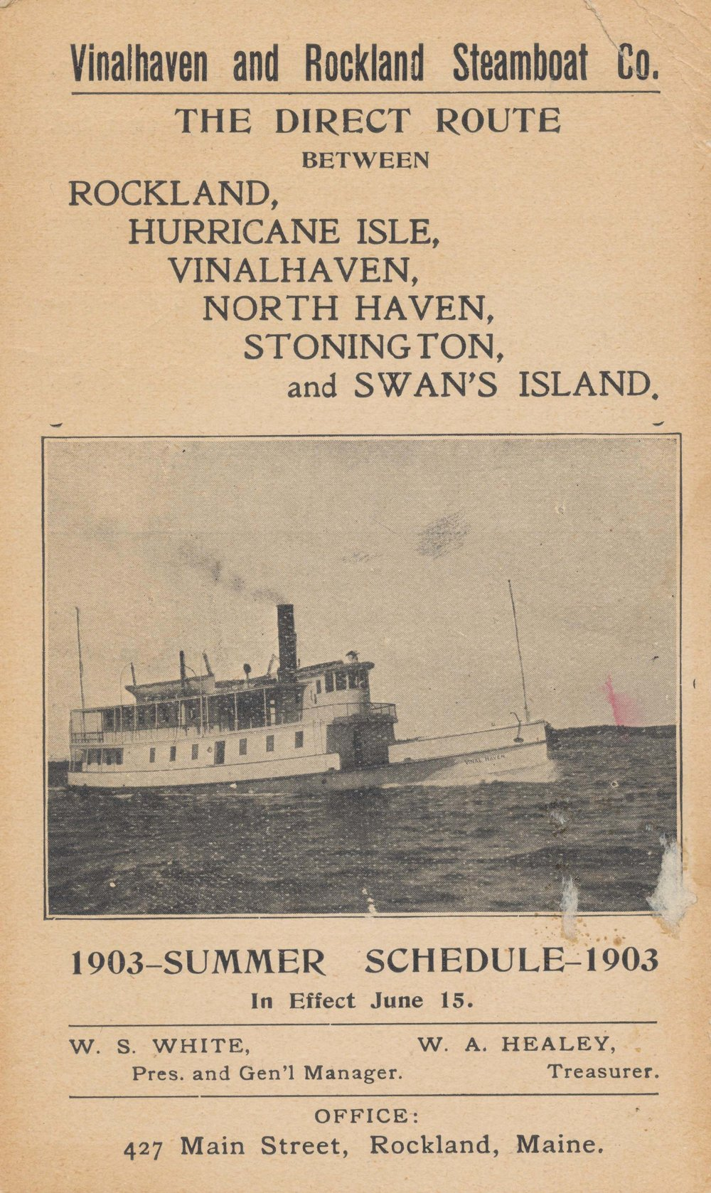 Summer ferry schedule in 1903 – Photo courtesy of NHHS