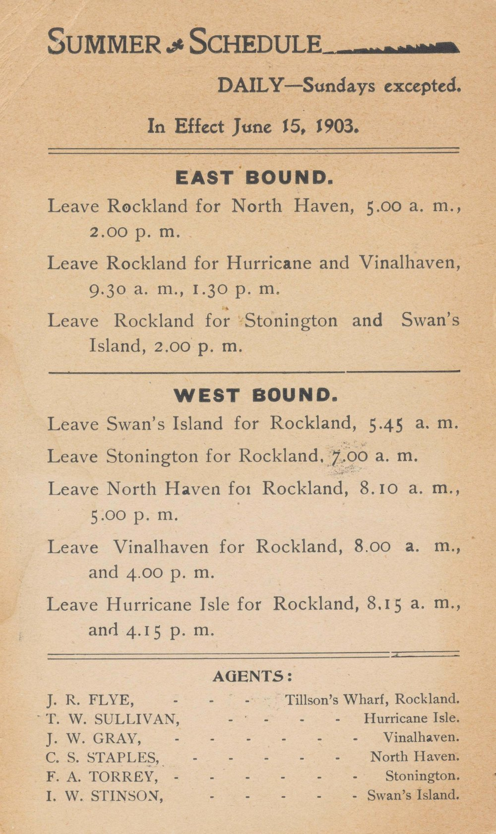 Summer ferry schedule in 1903– Photo courtesy of NHHS
