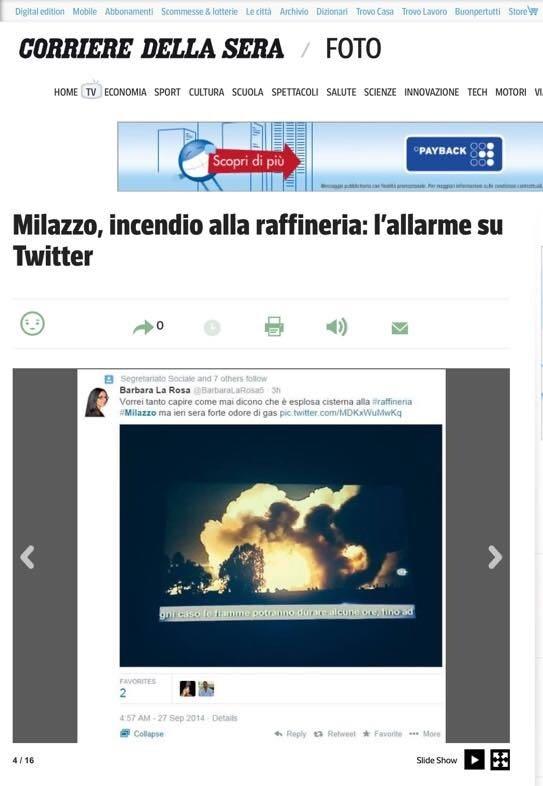 Il Corriere della Sera scrive della Raffineria di Milazzo
