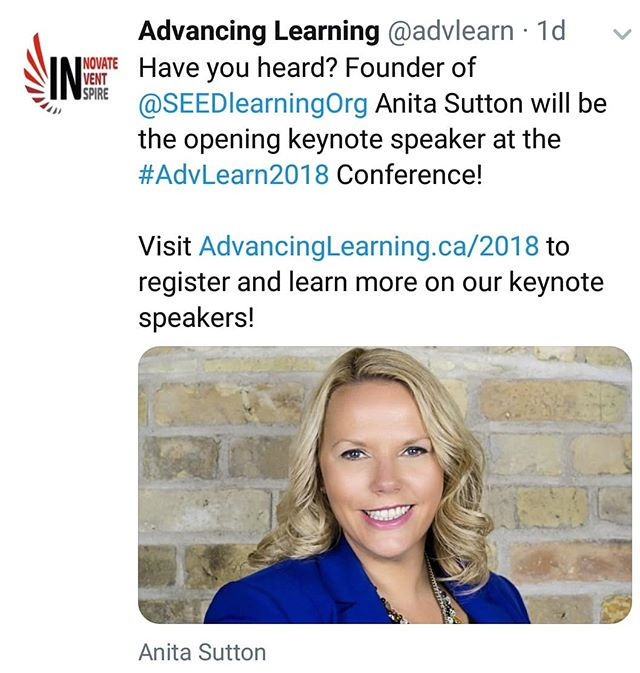 Happy to announce our Founder and CEO will be the Opening Keynote Address at #edtechontario 2018 Advancing Learning Conference being held at @fanshawecollege  #AdvLearn2018 #tech #edtech #conference #ontariocolleges #learning #keynote #innovation #inspiration #motivation