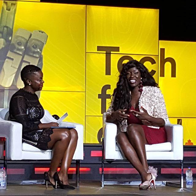 The phenomonal Bozoma Saint John talking Tech for Good with Talia Sanhewe at @communitech #truenorth18  #techforgood #uber #innovation #brand #canadianinnovationweek #womenintech #womeninleadership #powerfulwomen #inspirationalwomen #inspiration