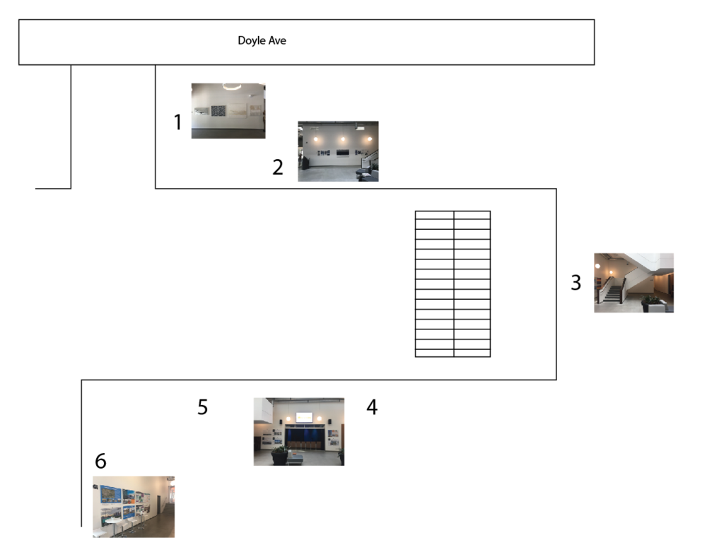 We'll start with wall #1 on the diagram and move left to write—just like how you'd read a book! the very last bit (hallway #6) leads right into the library.
