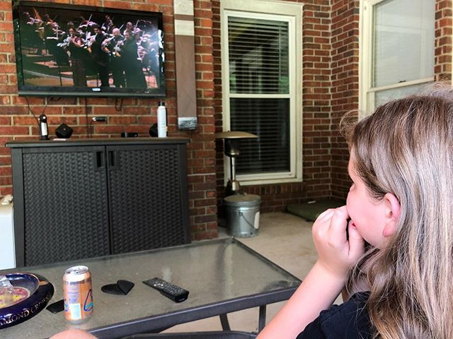 """Ainsley has decided she will play the French horn at school beginning in the fall and it is all she can talk about! She came outside and asked...""""can we watch some horn videos?"""" I had just the thing for her and she can't take her eyes off of the screen! @hornsarahberlin @berlinphil @aca.music @amymwhit"""