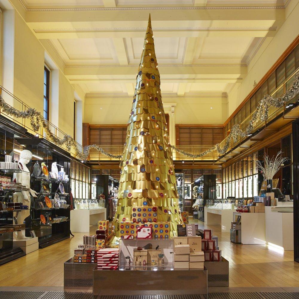 Layered golden christmas tree