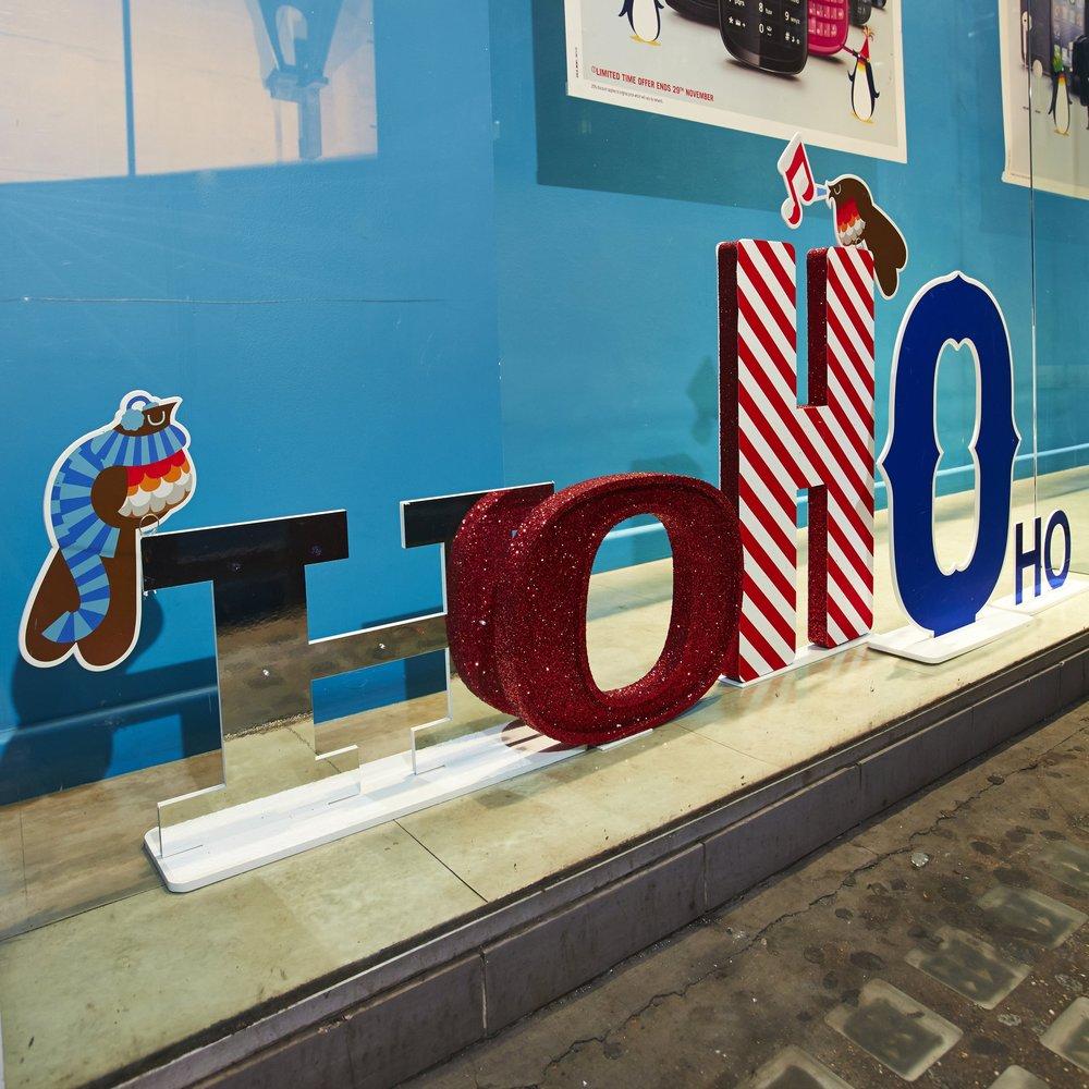Christmas Ho Ho Ho letter window display
