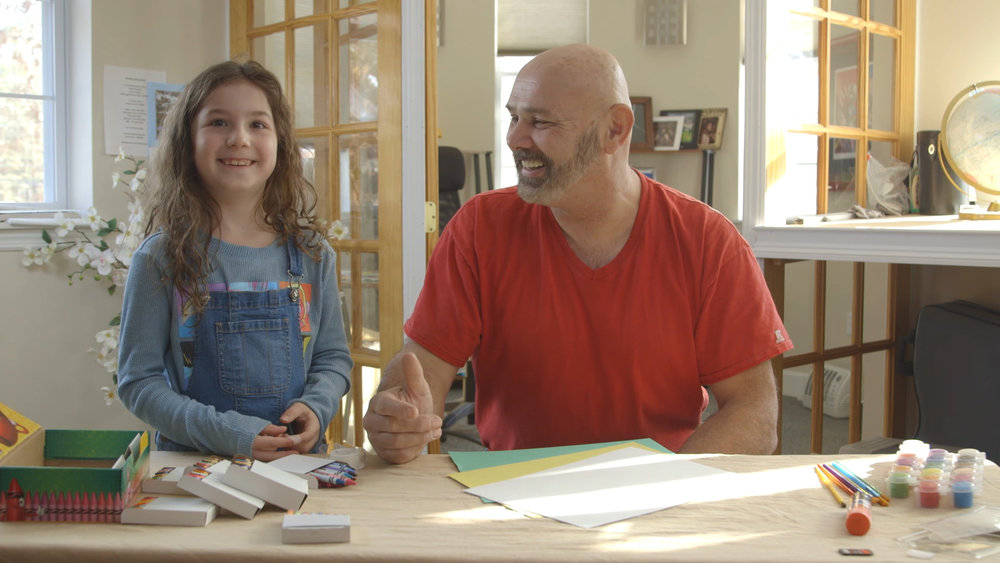 """Chloe, our Big Brother and Big Sister Book ambassador, and myself on the """"How to"""" video shoot for the Big Brother and Big Sister Books."""