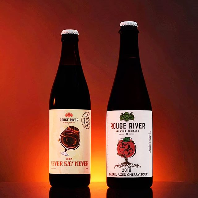 Still have a couple of these left on the bottle shop!  On the left: Jim Bean Barrel Aged Imperial Stout. On the right: Cab Sauv Barrel Aged Cherry Sour.  #ontariocraftbeer #beerphotography