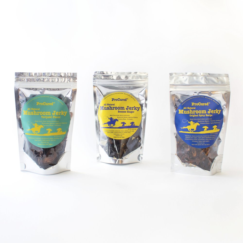 ProCured - Jess combined her loves of foraging and mushrooms to create ProCured – a line of all natural, small batch mushroom jerky. These shelf stable, lightweight snacks are made from portobello and oyster mushrooms, and packed with protein. ProCured is dedicated to providing people with delicious and guilt-free snack options.