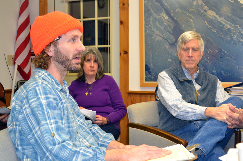 Kyle DePietro and Jeff Tarbox discuss their plans for a craft brewery during a meeting of the Westport Island Board of Selectmen at the town office Monday, Jan. 30. - Read the full article