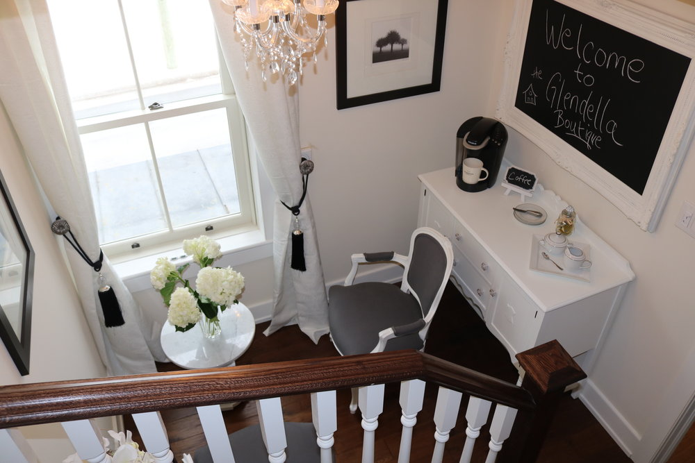 Lakeview Breakfast Nook - Antique side board with Keurig coffee maker and assortment of complimentary K Cups. Featuring marble coffee table with two chairs overlooking the Lake for all guests to enjoy. Includes coffee, tea, water, and fruit bowl.