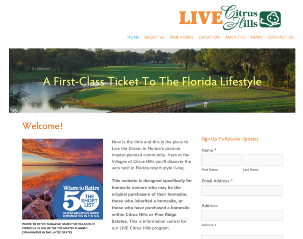 Campaign Specific Website Design for the Villages of Citrus Hills