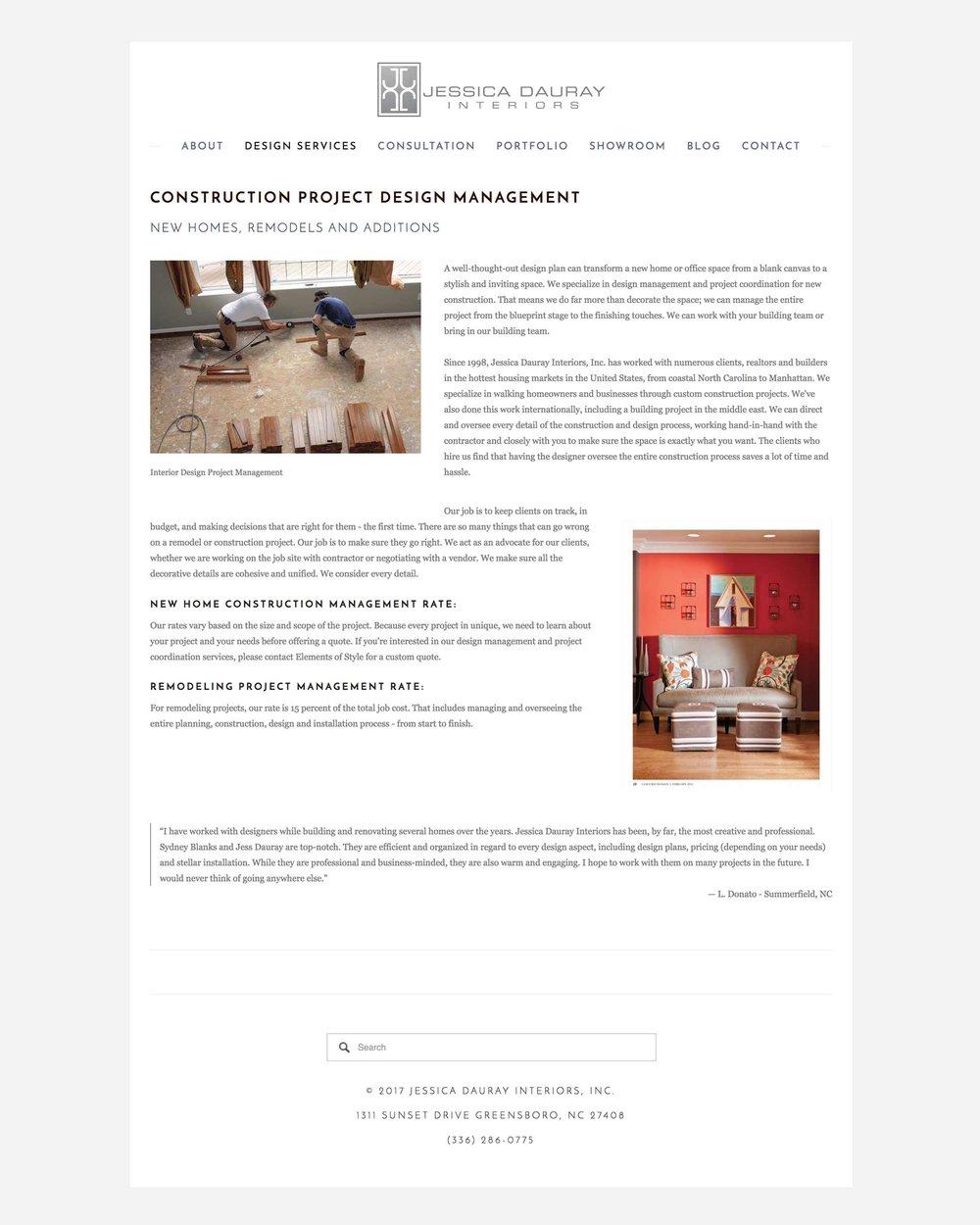 Jessica Dauray Interiors Gallery Squarespace Website Design