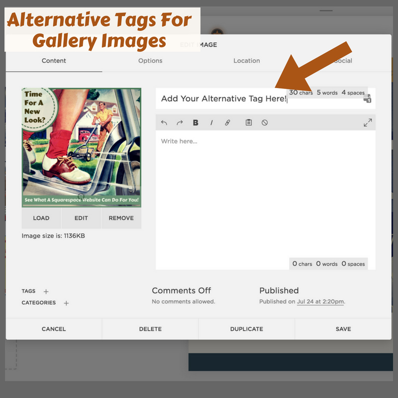 Adding Alt Tags To Squarespace Gallery Pages