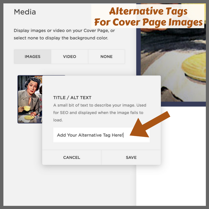 Adding Alternative Tags To Squarespace Cover Pages