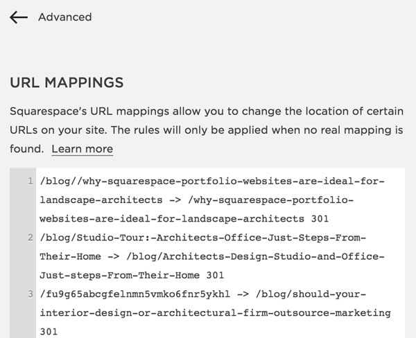 Squarespace URL Mappings and 301 redirects