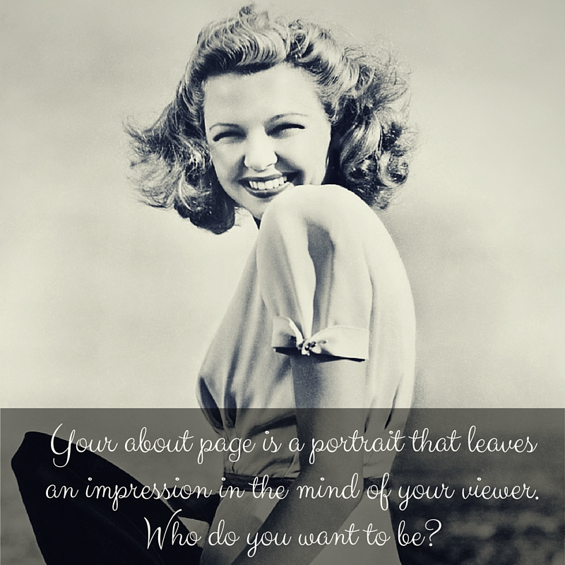 Use a portrait on your about page. It helps prospective customers know who they're forming a relationship with.