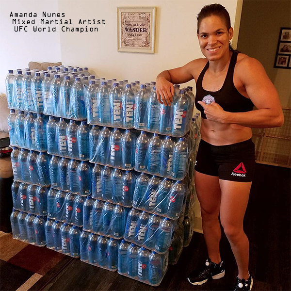 "Amanda 'Lioness' Nunes, UFC World Champion    ""I need to stay hydrated when I train so I choose the purest water with the highest pH and electrolytes. I'm proud to represent TEN spring water."""