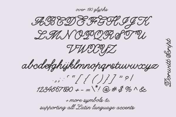 Dorwitt Script Font, designed in iFontMaker app