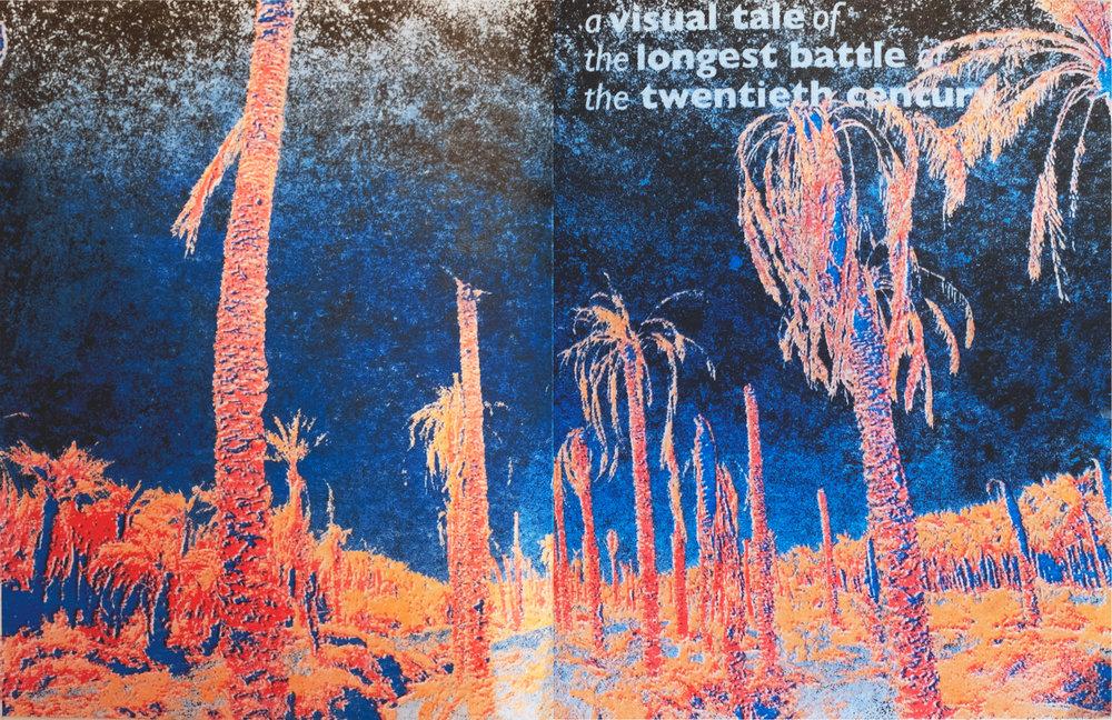 Despite the bright colour palette, the cover has a dark vibe and alludes a sense of despair -
