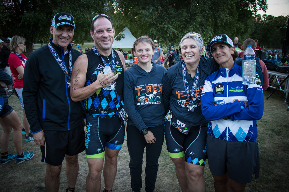 Duane, Ted, Tracy, Rhoda, and Jackie tackle the T-Rex Triathlon Series each year. Ted PR'd by three minutes after doing this race 19 times!