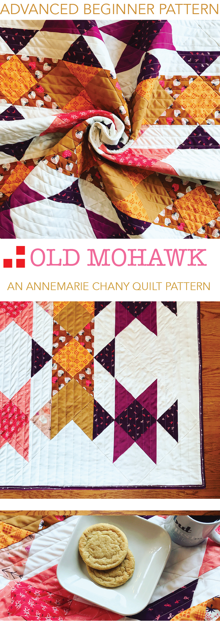 Old Mohawk Quilt Pattern - Beginner Half Square Triangle Quilt Pattern