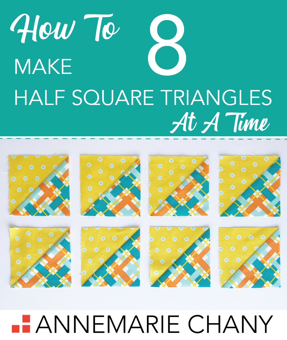 How to Make 8 Half Square Triangles at a Time Quilt Block Tutorial.png